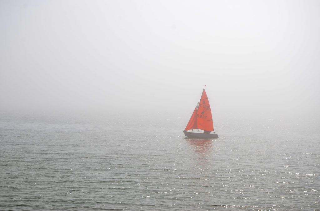 Boating in the mist